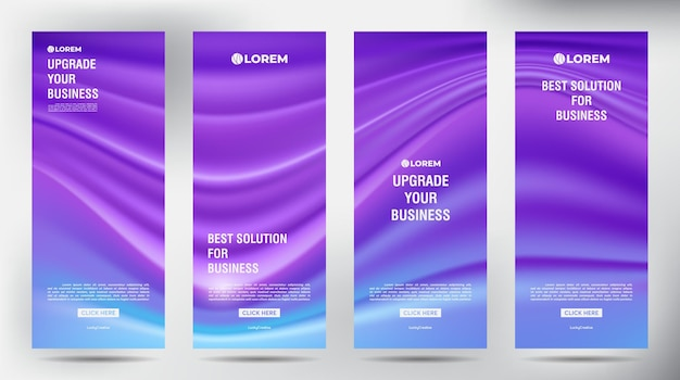 Mesh color flow roll up template vertical de design de banner de negócios