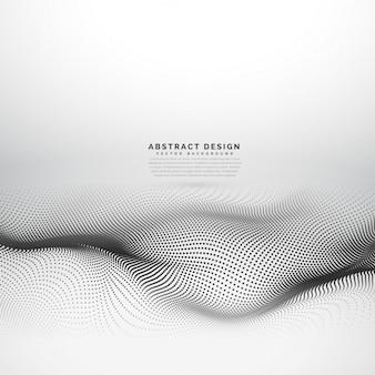Mesh onda elegante feito com partículas pontos pretos