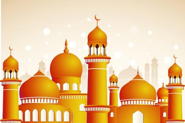 Mesquita árabe sobre fundo claro brilhante. ramadan kareem