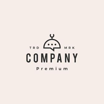 Mesquita bate-papo conversa bolha hipster logotipo vintage
