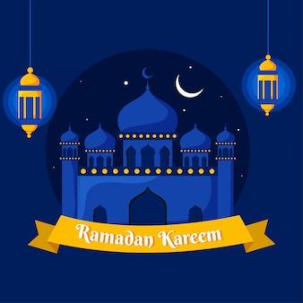 Mesquita bonita e lanternas iluminadas de suspensão sobre fundo azul. ramadan kareem concept.