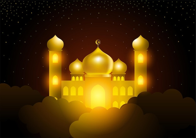 Mesquita brilhante no céu, tema islâmico, ramadã
