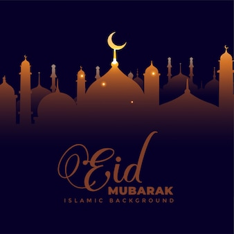 Mesquita brilhante no fundo escuro eid mubarak