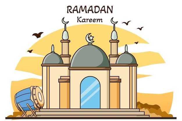 Mesquita com tambor muçulmano ramadan kareem cartoon ilustração