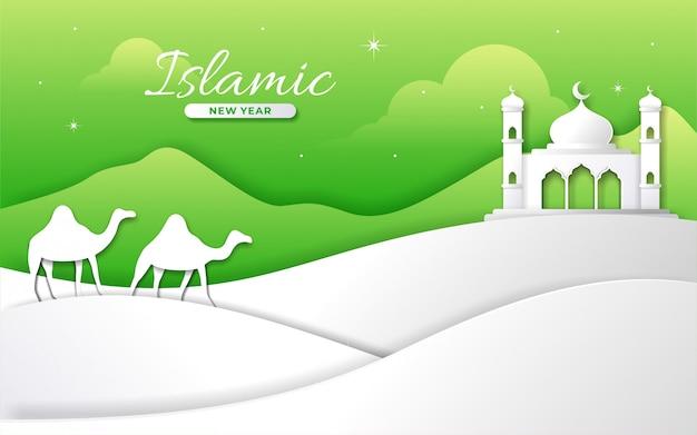 Mesquita de estilo de papel islâmico feliz ano novo