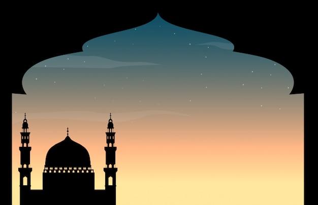 Mesquita de silhueta no crepúsculo