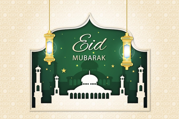 Mesquita e noite verde estilo de papel eid mubarak