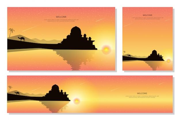 Mesquita e pôr do sol paisagem