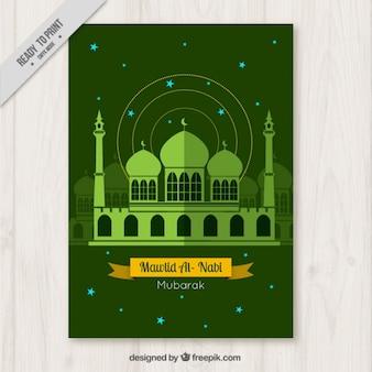 Mesquita folheto verde mawlid