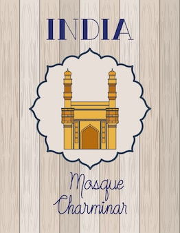 Mesquita indiana chaminar templo com madeira