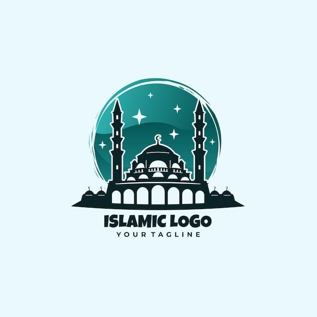 Mesquita islâmica com logotipo verde