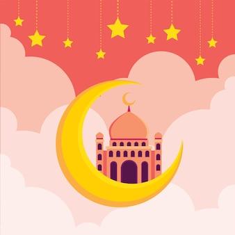 Mesquita islâmica com meia lua e céu cheio de estrelas ilustração plana hari raya aidilfitri