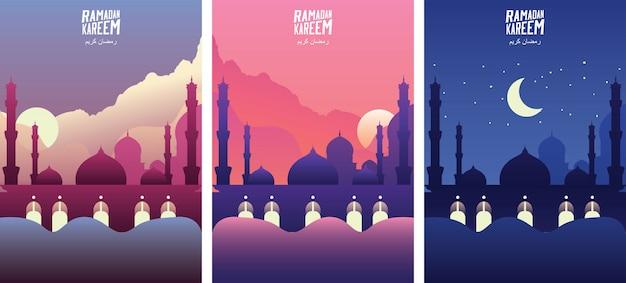 Mesquita islâmica com nuvem no nascer do sol, pôr do sol e noite. as bandeiras do cumprimento do kareem da ramadã ajustaram a ilustração do vetor do molde. - vetor