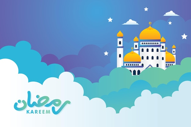 Mesquita islâmica ramadan mubarak na nuvem