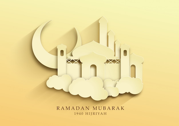 Mesquita masjid ilustração papercut para mês ramadan e papel de parede