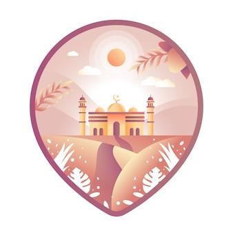 Mesquita pin ilustração