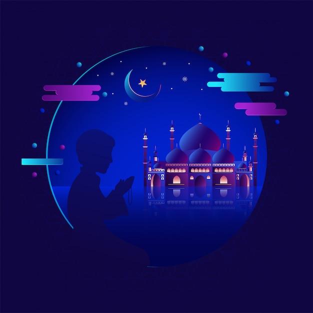 Mesquita realística com a silhueta do menino muçulmano em salah. menino de oração
