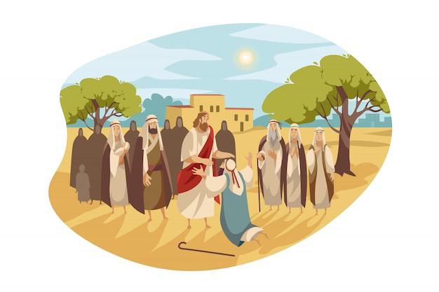 Messias cura homem cego, conceito da bíblia
