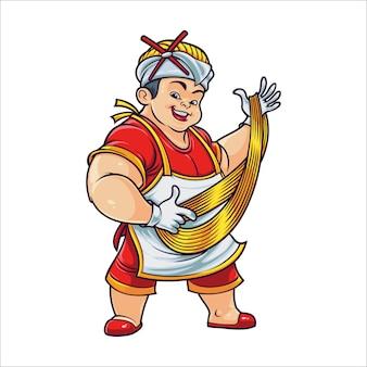 Mestre de macarrão dos desenhos animados
