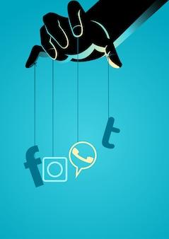 Mestre de marionetes controlando o símbolo de mídia social