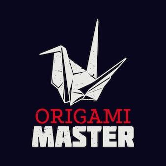 Mestre de origami de design de camiseta com origami de pássaro e ilustração vintage de fundo preto
