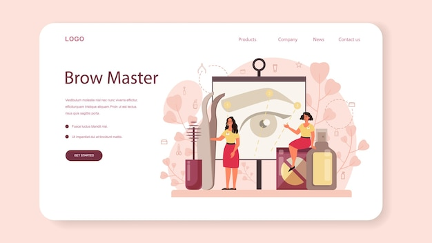 Mestre de sobrancelhas e banner da web ou página de destino do designer