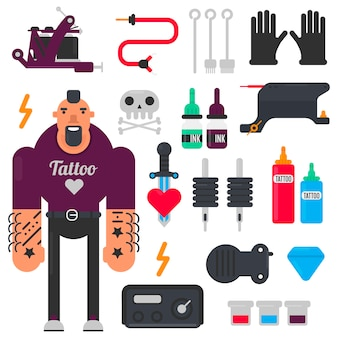 Mestre de tatuagem e conjunto de ícones de ferramentas de tatuagem