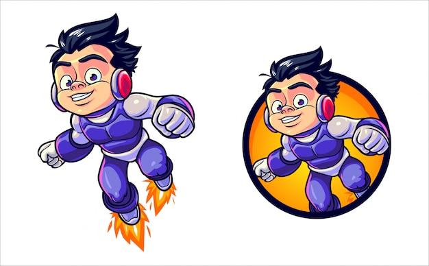 Mestre dos desenhos animados herói menino