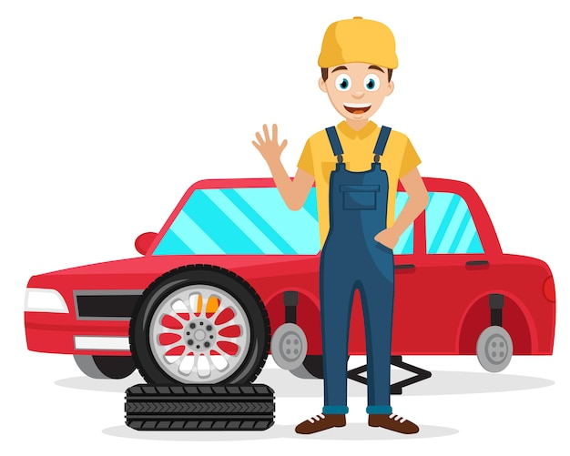 Mestre muda as rodas do carro no pneu em um branco.