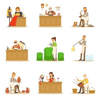 Mestres de artesanato artesão, pessoas adultas e artesanato passatempos e profissões conjunto de ilustrações.