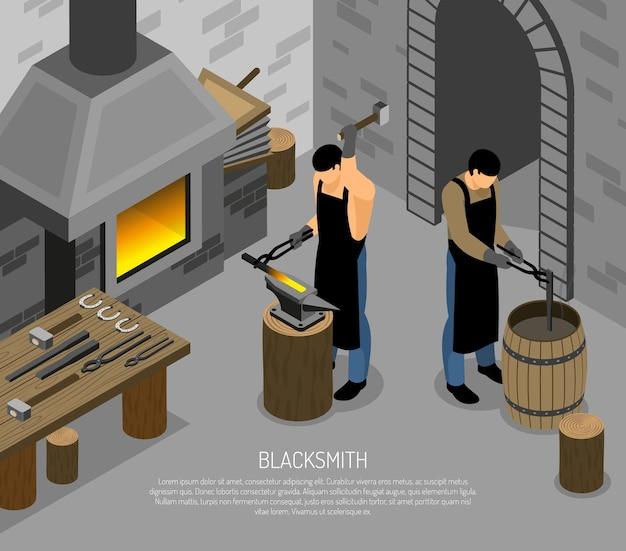Mestres de ferreiro com instrumentos profissionais durante o trabalho em forja isométrica