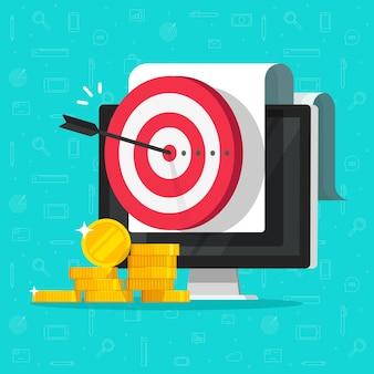 Meta de marketing de dinheiro como objetivo digital de internet na ilustração da tela do computador