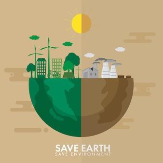 Metade da terra de verde ou cidade ecológica e de poluição para salvar o conceito de ambiente.