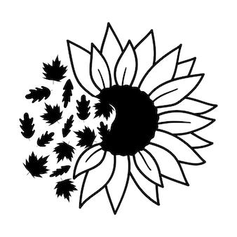 Metade das folhas de outono do girassol ilustração em vetor outono