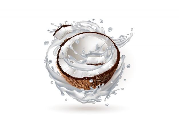 Metade de um coco em um respingo de leite.
