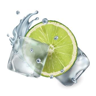 Metade de um limão com cubos de gelo e respingos de água