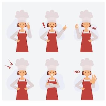 Metade do corpo feminino chef personagem definido com várias ações,