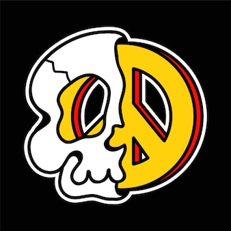 Metade do crânio com o símbolo do hippie da paz dentro da camiseta, impressão de camiseta. vetorial mão desenhada linha ilustração de personagem de desenho animado do estilo dos anos 70. metade trippy crânio, impressão da paz para t-shirt, pôster, conceito de cartão