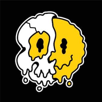 Metade do crânio com rosto de sorriso derretido dentro. vetorial mão desenhada linha doodle ilustração de personagem de desenho animado estilo anos 70. metade trippy crânio, psicodélico, impressão de rosto de emoji de sorriso para t-shirt, pôster, conceito de cartão