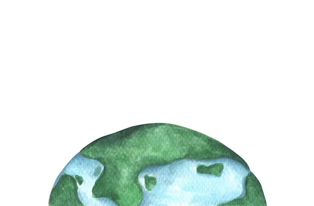 Metade do planeta terra. ilustração em aquarela.