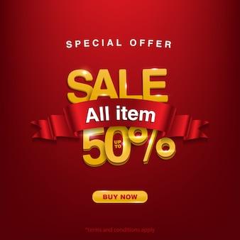 Metade do preço, oferta especial de venda de todos os itens até 50%, compre agora