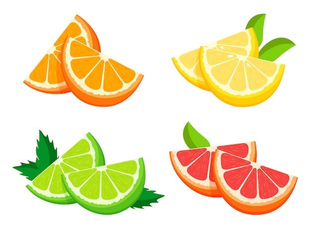 Metade fresca brilhante de laranja, limão, limão e toranja isolada