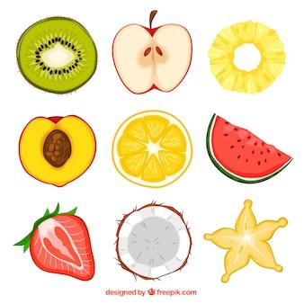 Metades de frutas