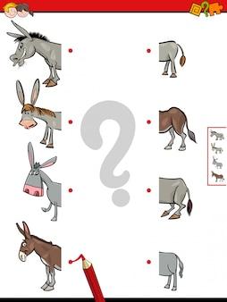 Metades de jogo de burros jogo educativo