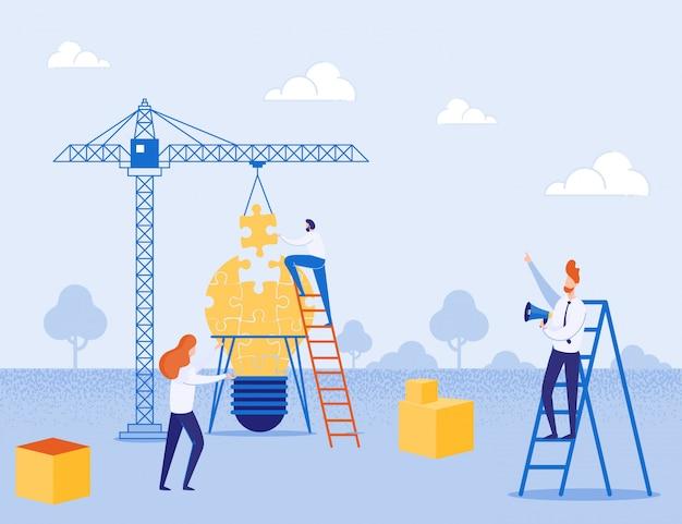 Metáfora construindo pátio para criar idéia e equipe