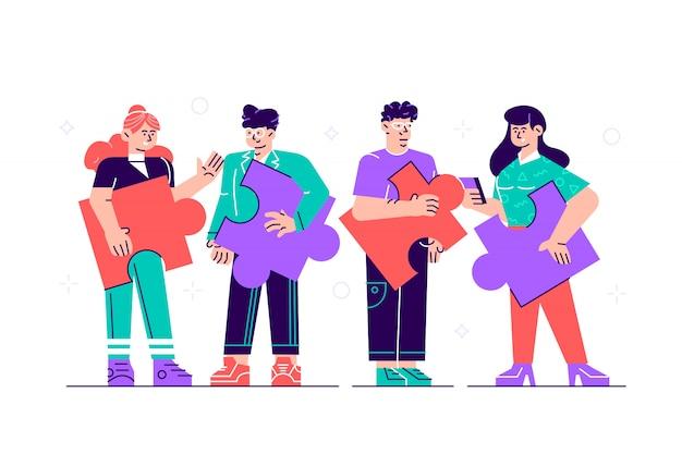 Metáfora da equipe, personagens de homem e mulher com peças de quebra-cabeças