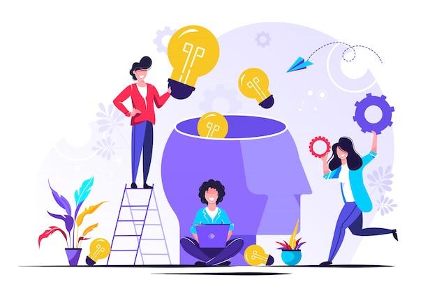 Metáfora da equipe. pessoas conectando elementos de quebra-cabeça