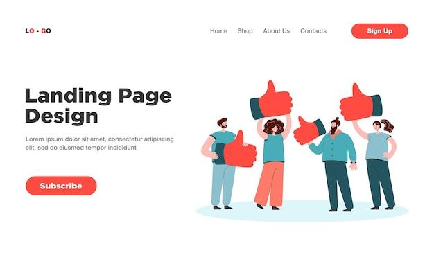 Metáfora de desenho animado da avaliação do cliente, página inicial de feedback de qualidade. página de destino