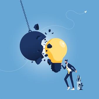 Metáfora de ideia criativa forte e força de criatividade como uma bola de demolição destruída por uma lâmpada