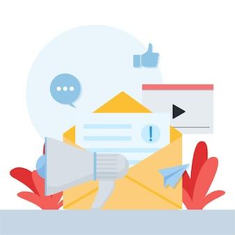 Metáfora de megafone, vídeo e carta de relações públicas